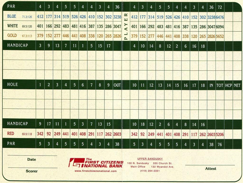 Lincoln Hills Gc Actual Scorecard Lake Erie Jga