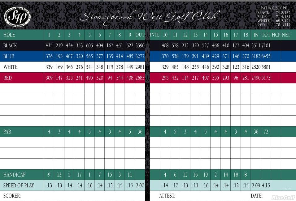 Stoneybrook West Gc Actual Scorecard Course Database