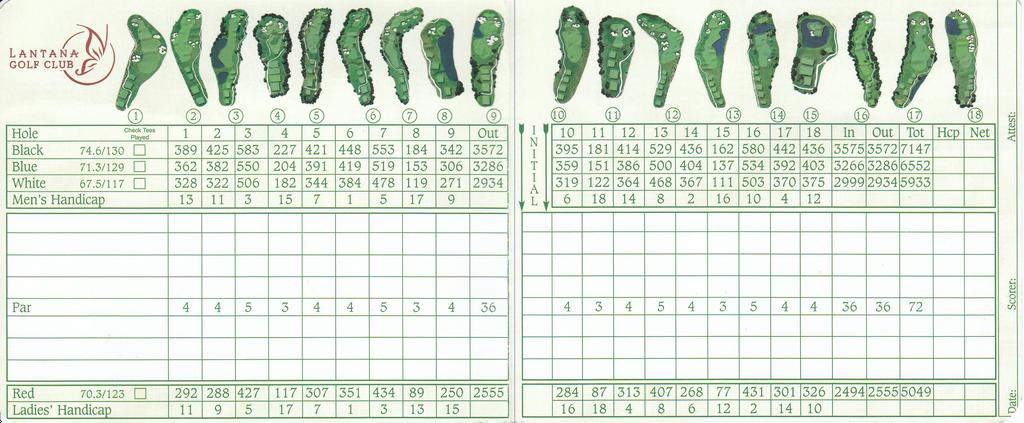 Actual Scorecard For Lantana Golf Club