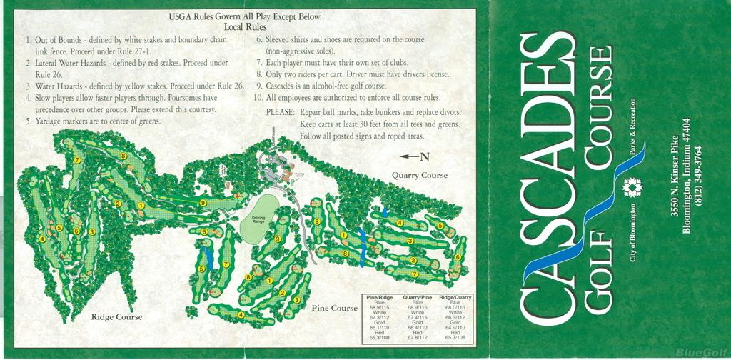 Cascades Golf Course Pine Ridge Course Profile Course