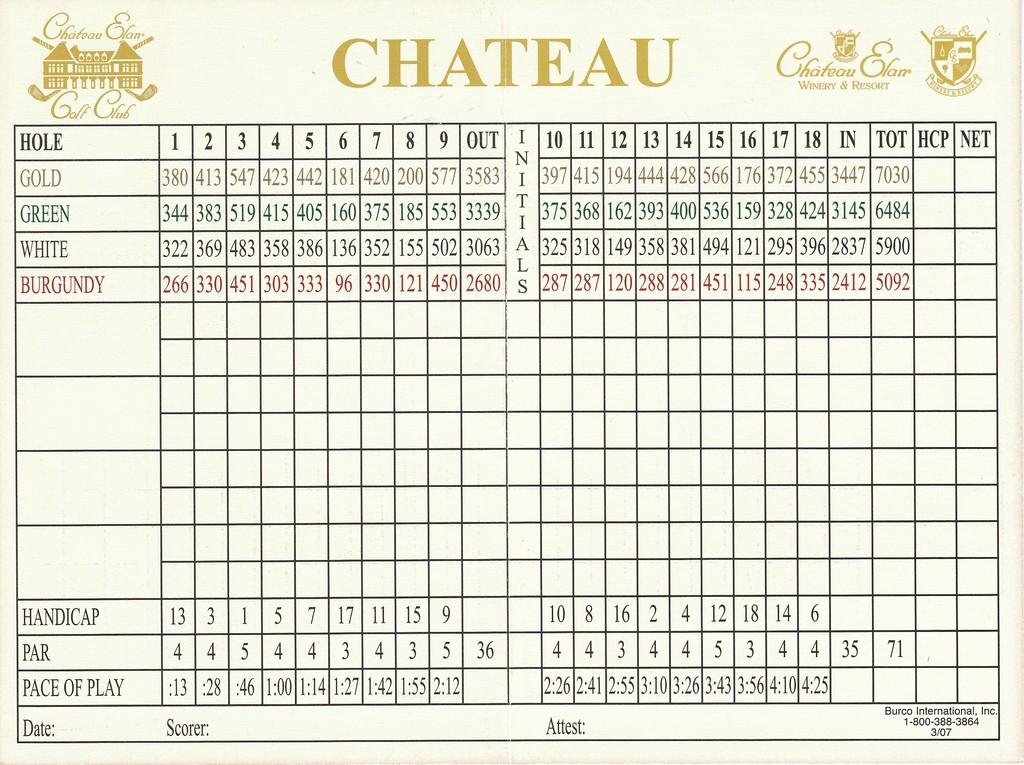 Actual Scorecard For Chateau Elan Golf Club Chateau