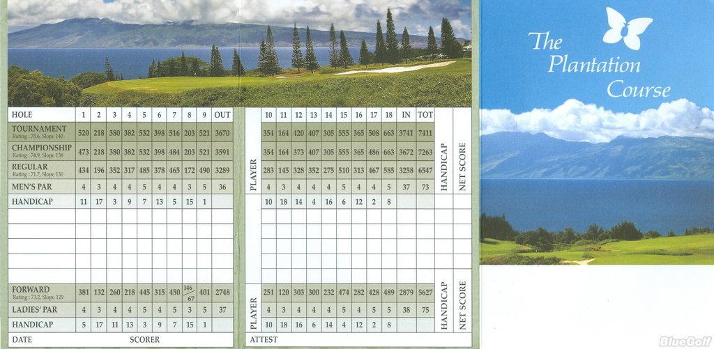 Kapalua - Plantation - Actual Scorecard | Course Database Golfers