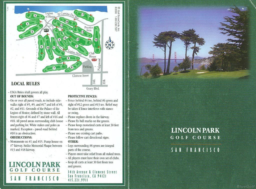 Lincoln Park Gc Actual Scorecard Course Database