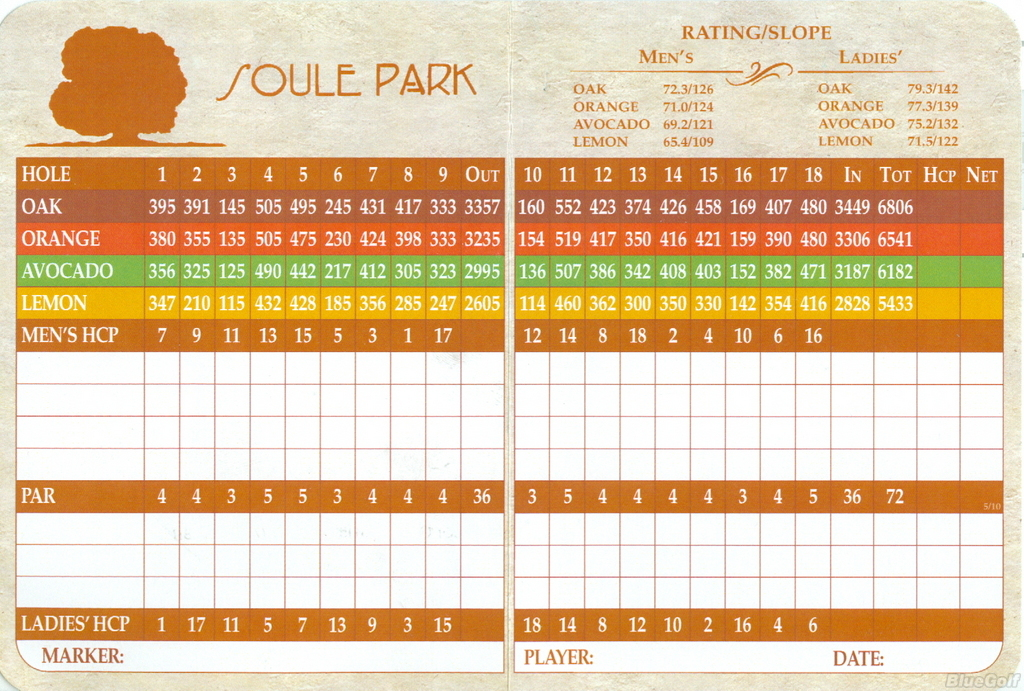 Soule Park Actual Scorecard Course Database
