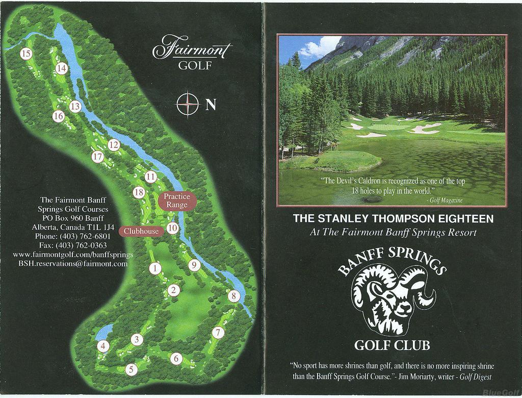 Organizers Banff Springs Actual Scorecard Course Database