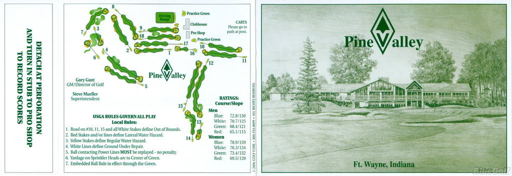 Pine Valley - Actual Scorecard | Course Database Golfers
