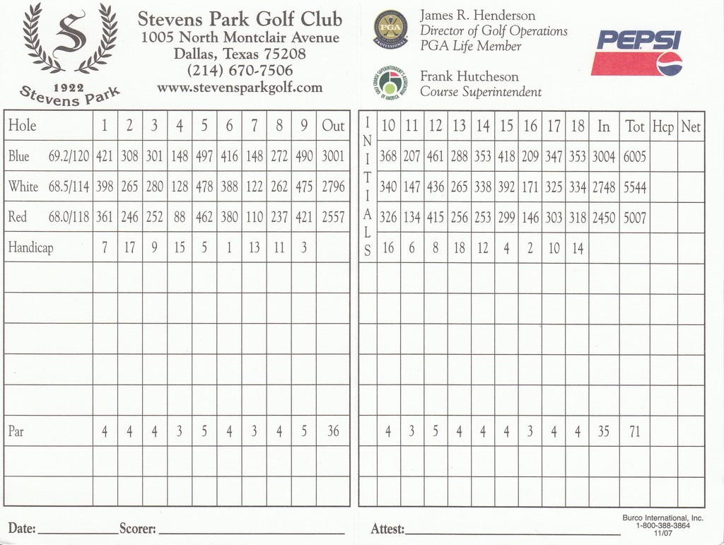 Stevens Park Golf Course - Course Profile | Course Database