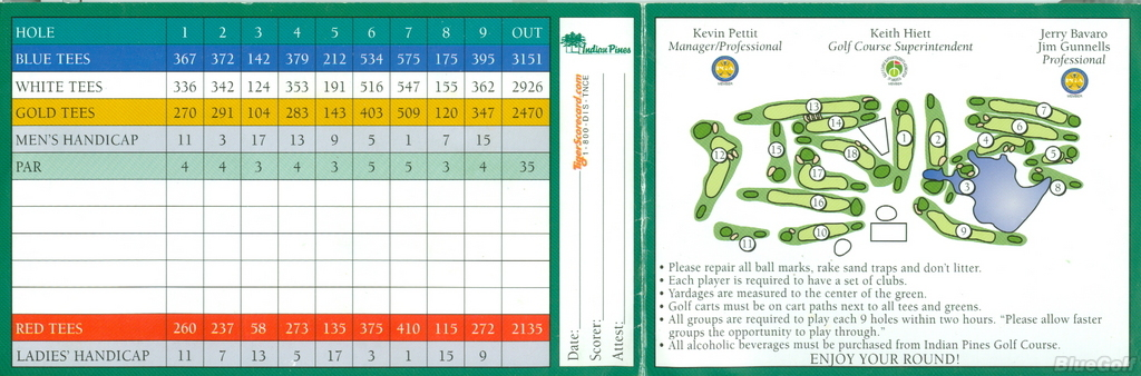 indian pines gc actual scorecard course database