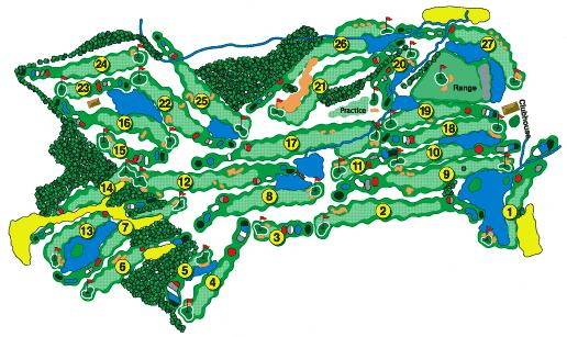 Rolling Meadows Golf Course Red White Layout Map