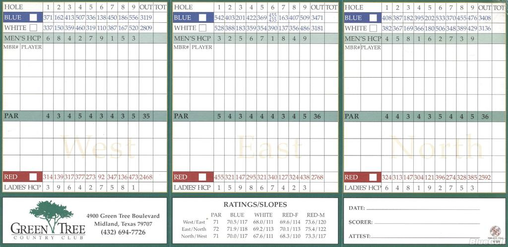 Green Tree Country Club Actual Scorecard Course Database
