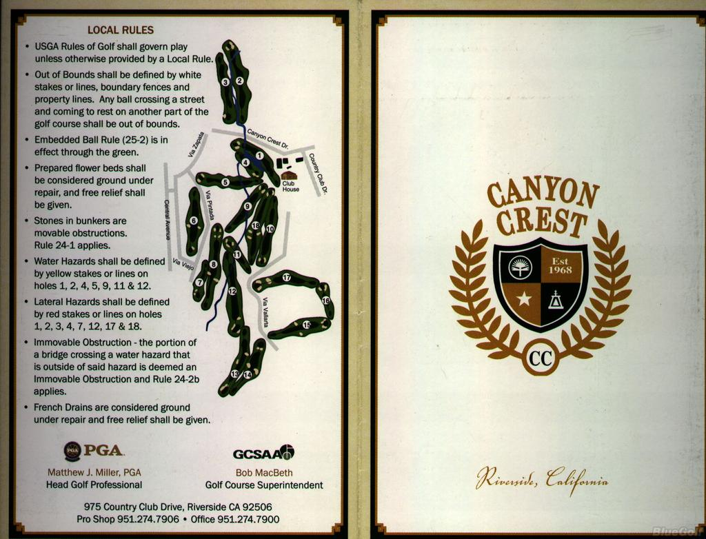 Canyon Crest Country Club Course Profile Course Database