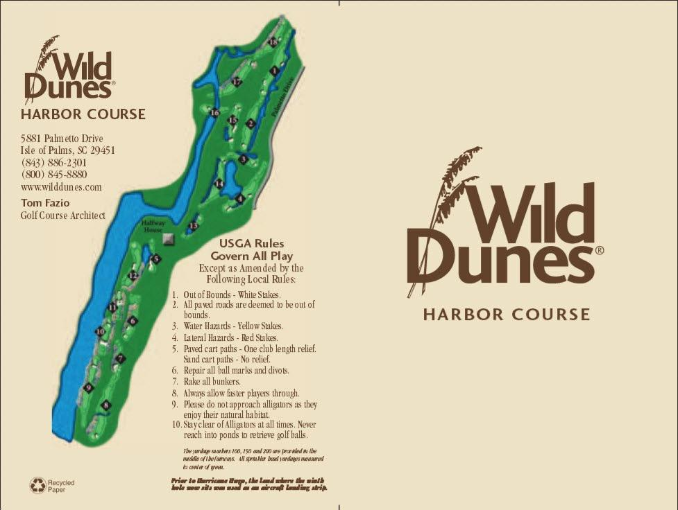 Wild Dunes GC - Harbor - Actual Scorecard | Course Database