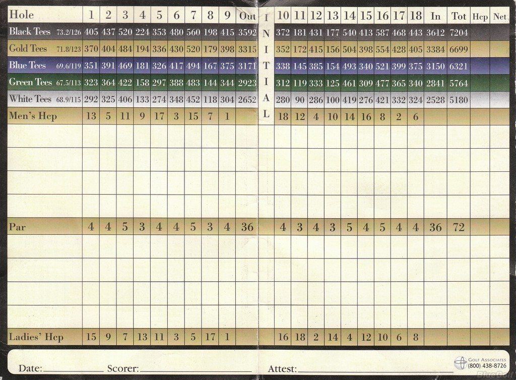 Tunica National GC - Actual Scorecard | Course Database Golfers