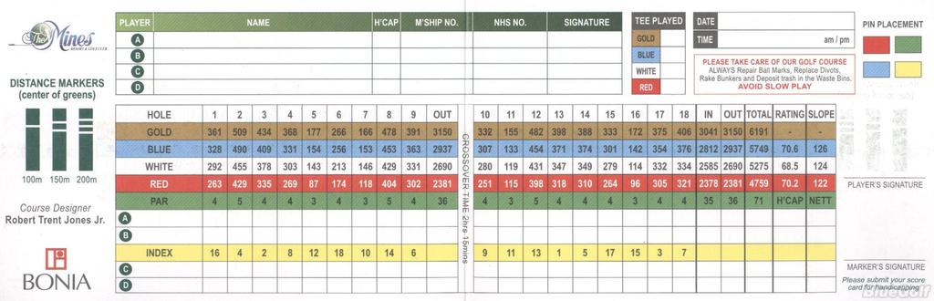 The Mines Resort Golf Club Course Profile Course Database