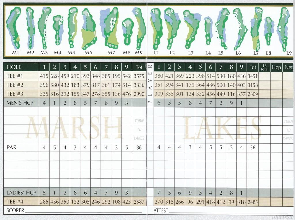 Peninsula GC- Marsh/Lakes - Actual Scorecard | Course Database Golfers