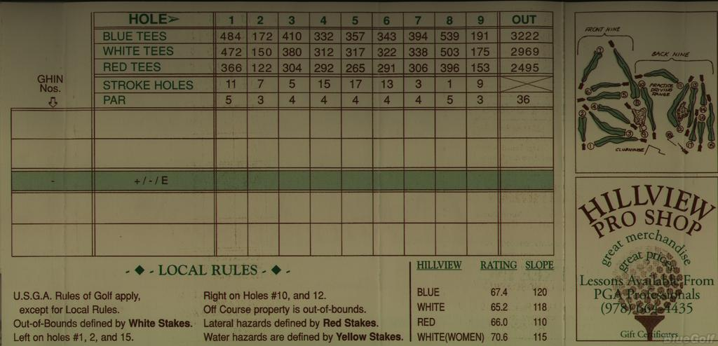 Hillview Golf Course Course Profile Course Database