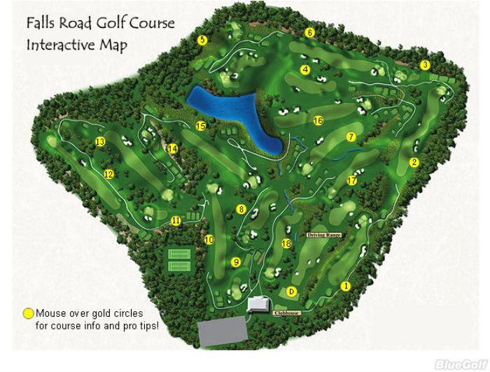 Falls Road Golf Course Layout Map Course Database