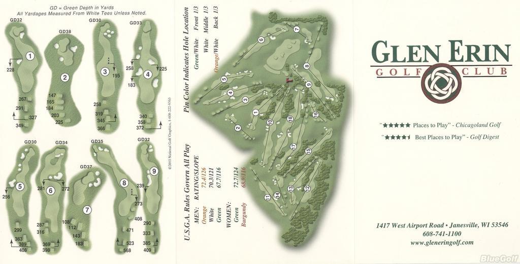 Glen Erin Gc Actual Scorecard Wisconsin State Golf