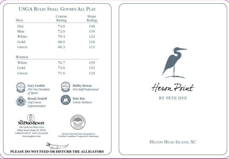 Sea Pines Resort HP Actual Scorecard Course Database - Map of sea pines hilton head island