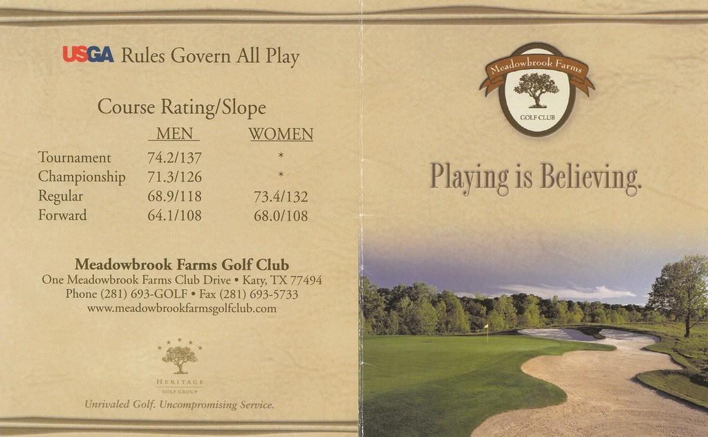 Meadowbrook Farms Golf Club Course Profile Course Database