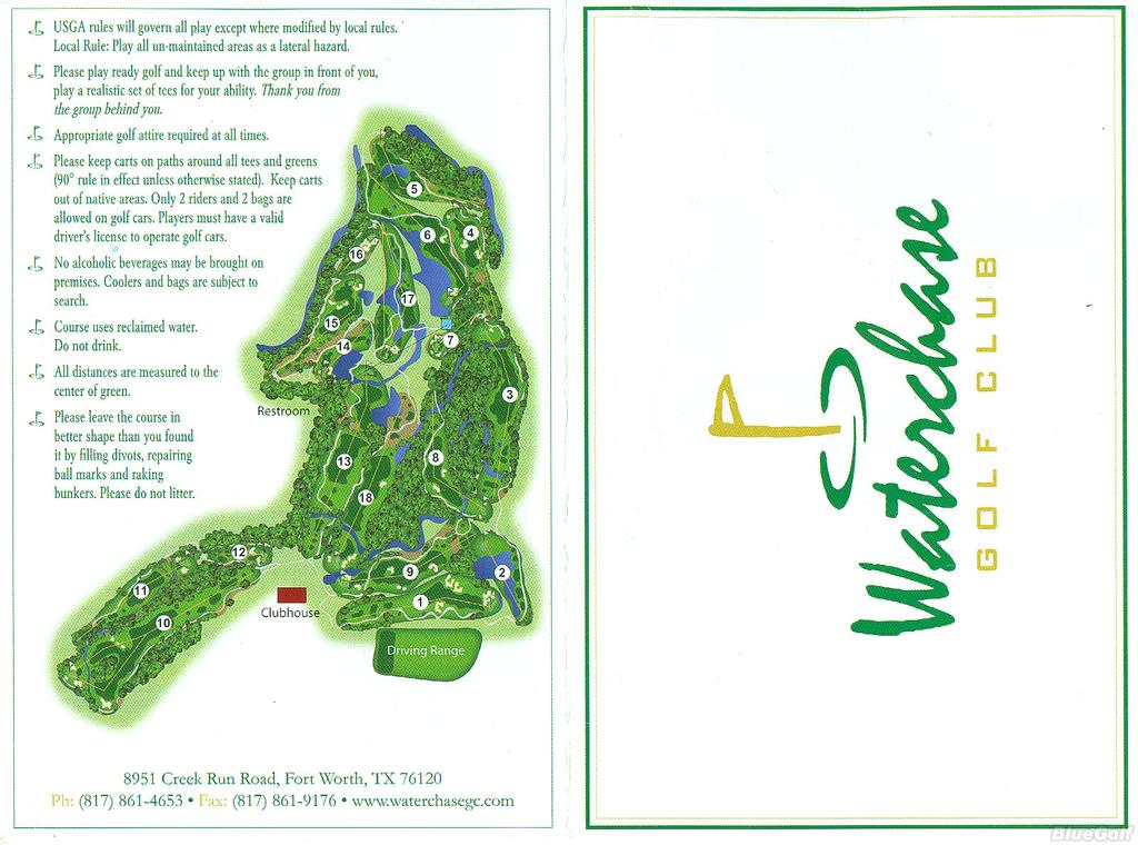 Waterchase GC - Actual Scorecard | Course Database Golfers
